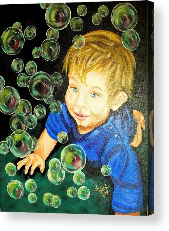 Baby Acrylic Print featuring the painting Bubble Baby by Kathern Ware