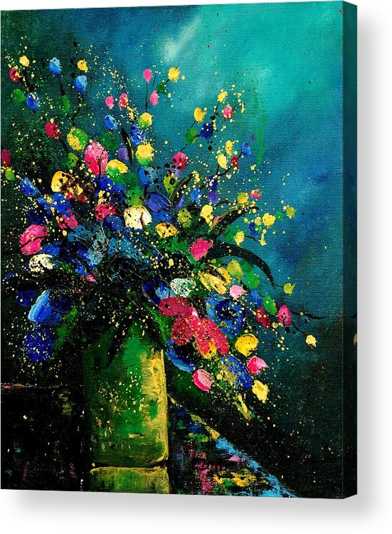 Flowers Acrylic Print featuring the painting Bunch 0807 by Pol Ledent