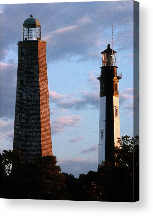 Lighthouses Acrylic Print featuring the photograph Cape Henry Lighthouses In Virginia by Skip Willits