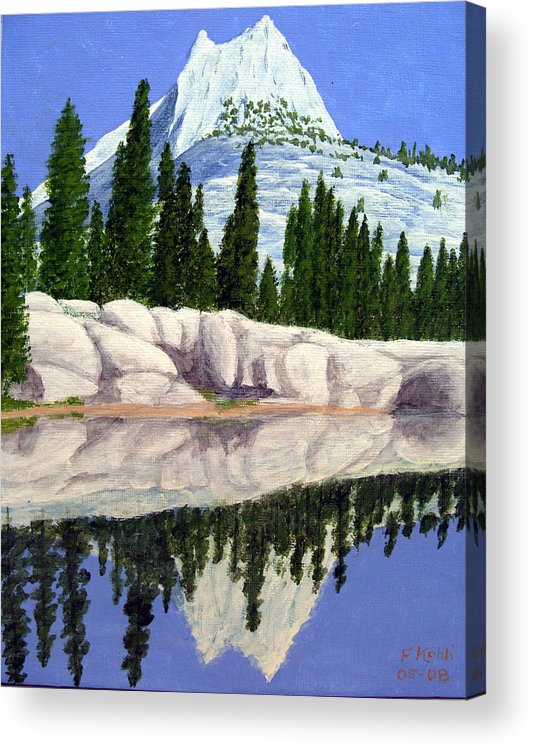 Landscape Paintings Acrylic Print featuring the painting Cathedral Peak by Frederic Kohli