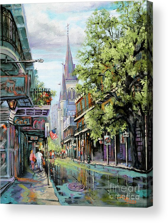 New Orleans Paintings Acrylic Print featuring the painting Chartres Rain by Dianne Parks