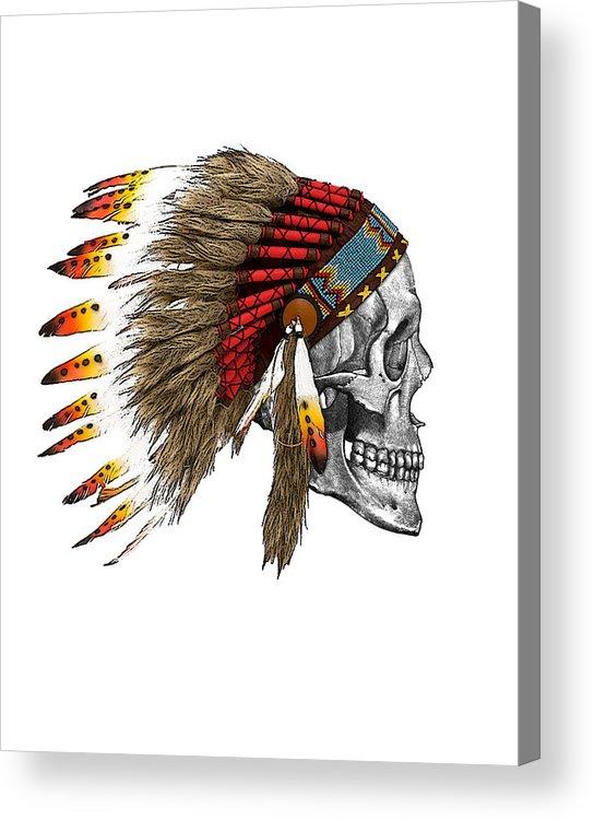 Indian Acrylic Print featuring the digital art Chief headdress on human skull native american art by Madame Memento