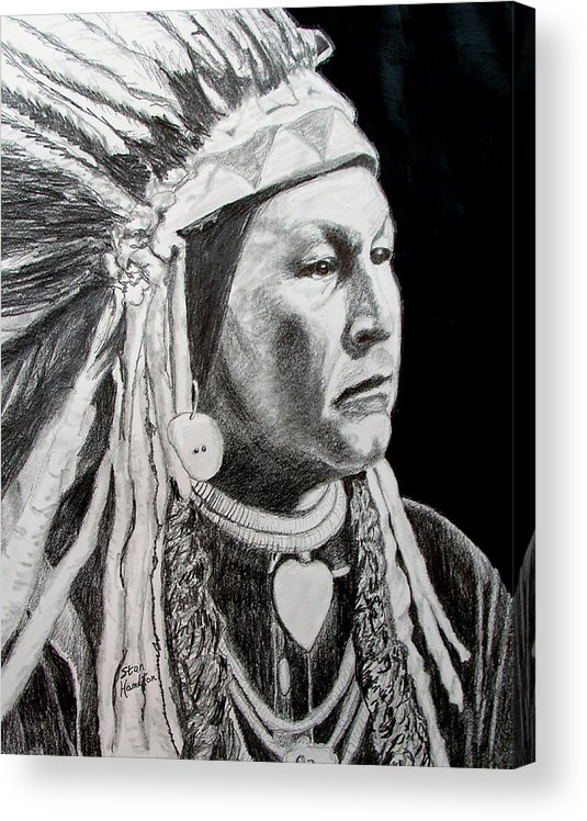 Indian Portrait Acrylic Print featuring the drawing Chief Yellow Wolf by Stan Hamilton