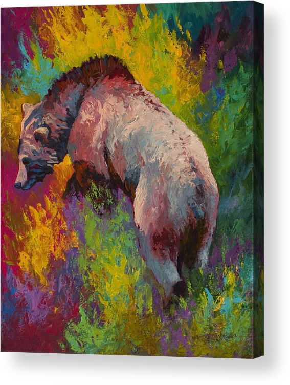 Western Acrylic Print featuring the painting Climbing The Bank - Grizzly Bear by Marion Rose