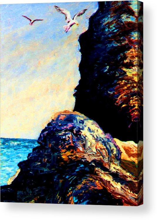 Coastal Rocks Acrylic Print featuring the painting Coastal Rocks by Ston Hamilton