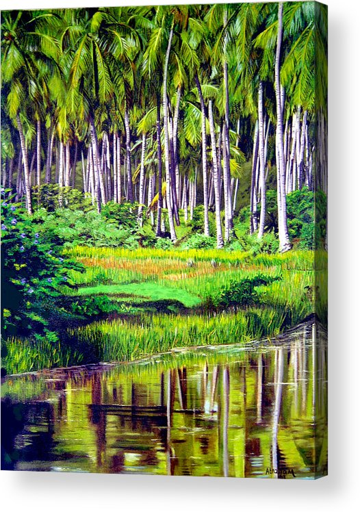 Coconuts Water River Green Art Tropical Acrylic Print featuring the painting Coconuts Trees by Jose Manuel Abraham