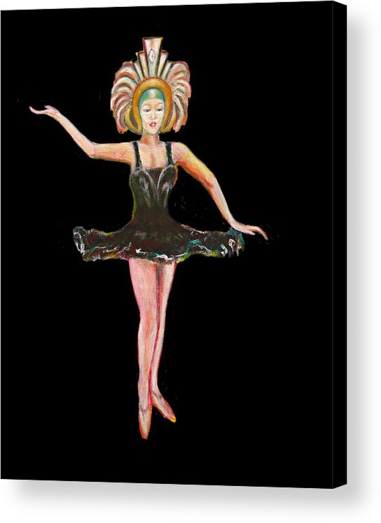 Dance Acrylic Print featuring the painting Dancer in the Black Tutu by Tom Conway