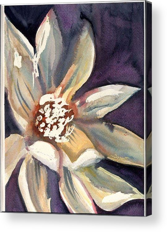 Dark Flower Acrylic Print featuring the painting Dark Flower by Janet Doggett