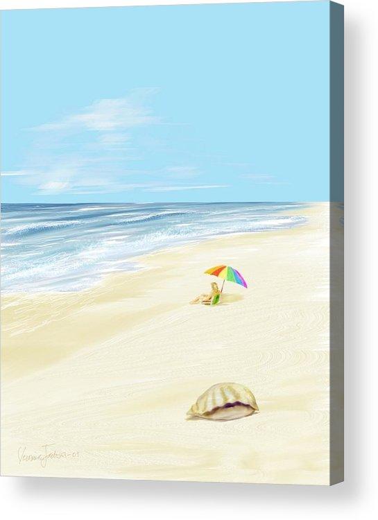 Beach Summer Sun Sand Waves Shells Acrylic Print featuring the digital art Day at the beach by Veronica Jackson