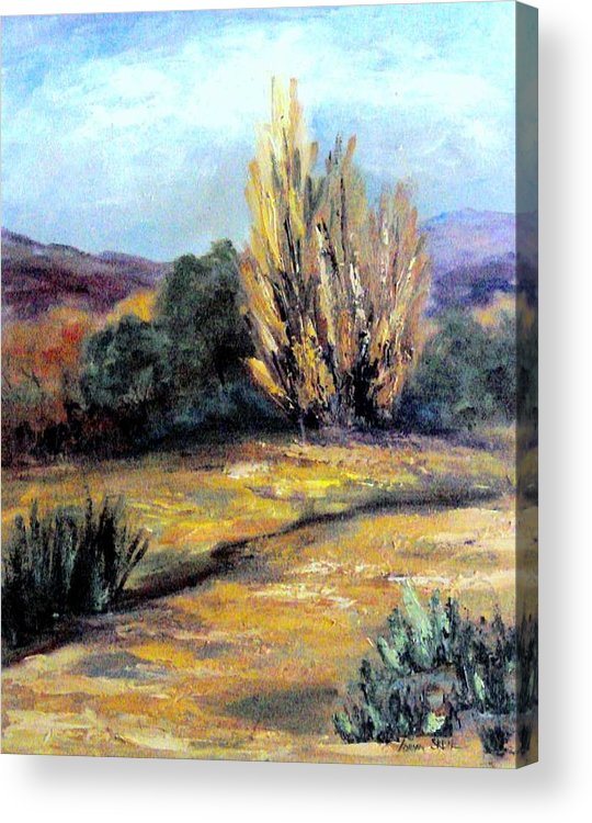Landscape Acrylic Print featuring the painting Desert in the Springtime by Lorna Skeie