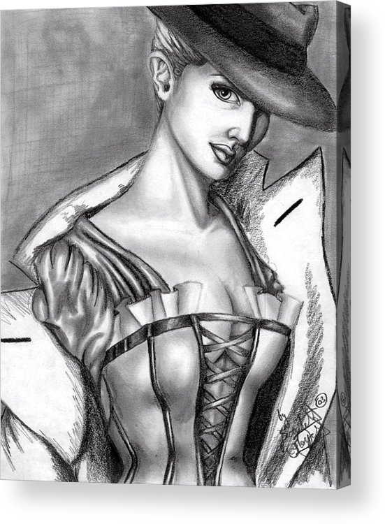Figure Acrylic Print featuring the drawing Detective by Scarlett Royal