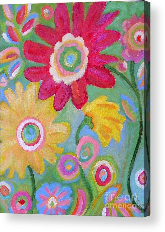 Karen Fields Acrylic Print featuring the painting Dream Flowers by Karen Fields
