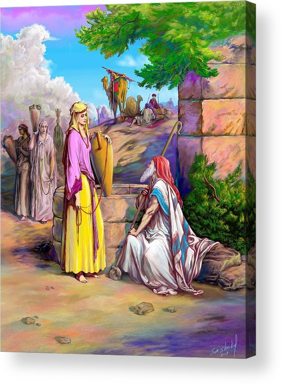 Biblical Acrylic Print featuring the painting Eliezer n Rebekah by Sam Shacked