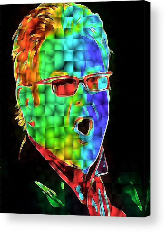 Elton Acrylic Print featuring the digital art Elton John in Cubes 2 by Yury Malkov