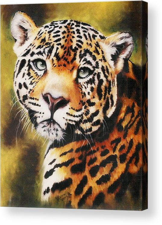 Jaguar Acrylic Print featuring the pastel Enchantress by Barbara Keith
