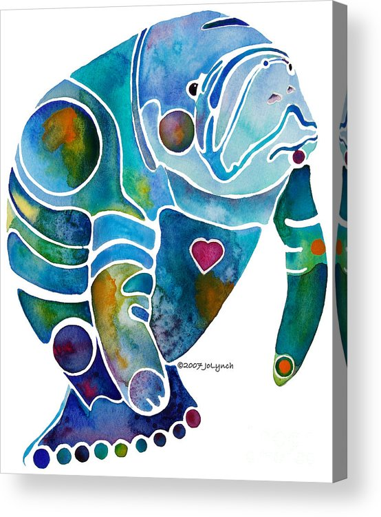 Manatee Acrylic Print featuring the painting Endangered Manatee by Jo Lynch