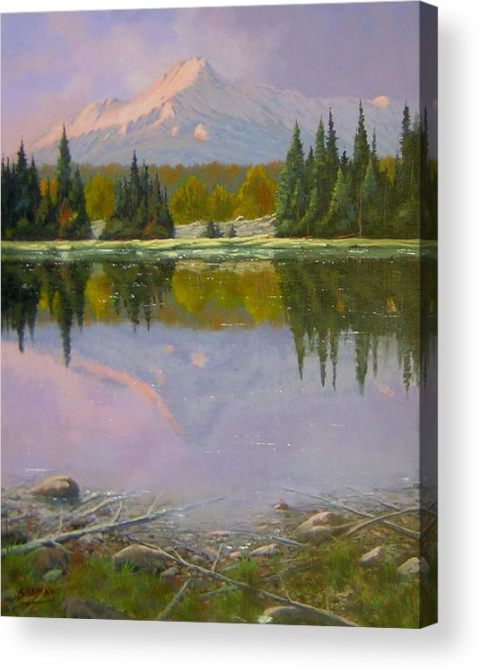 Landscape Acrylic Print featuring the painting Fading Light - Peaceful Moment by Kenneth Shanika