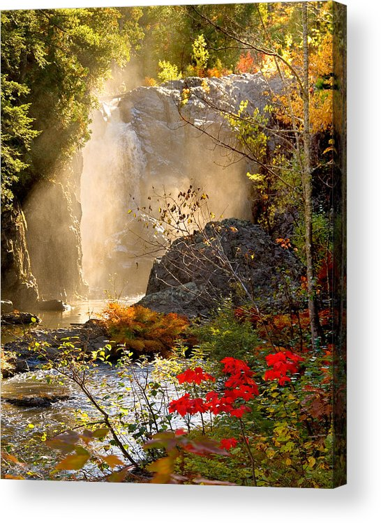 Fall Acrylic Print featuring the photograph Fall Falls Mist Dead River Falls Marquette MI by Michael Bessler