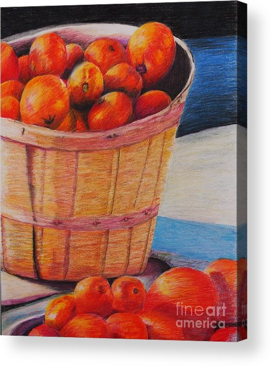 Produce In A Basket Acrylic Print featuring the drawing Farmers Market Produce by Nadine Rippelmeyer
