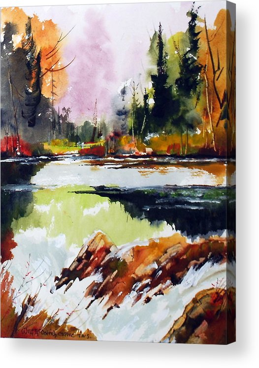 Waterfalls Acrylic Print featuring the painting Fast Water by Wilfred McOstrich