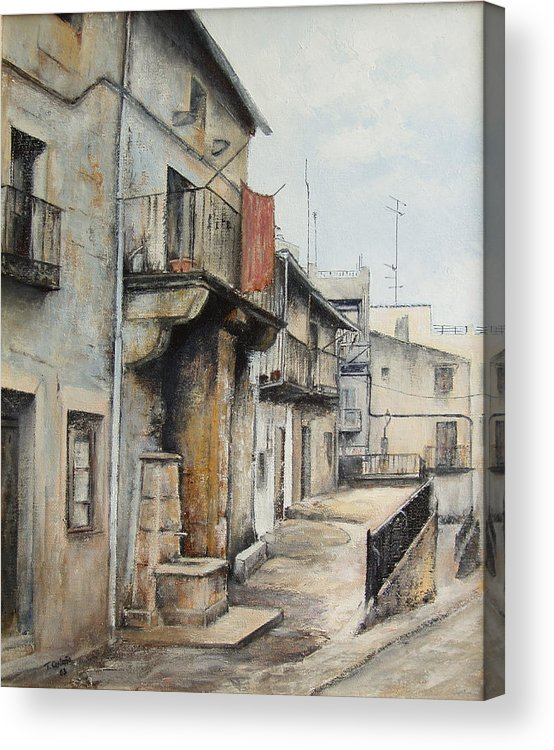 Fermoselle Zamora Spain Oil Painting City Scapes Urban Art Acrylic Print featuring the painting Fermoselle by Tomas Castano