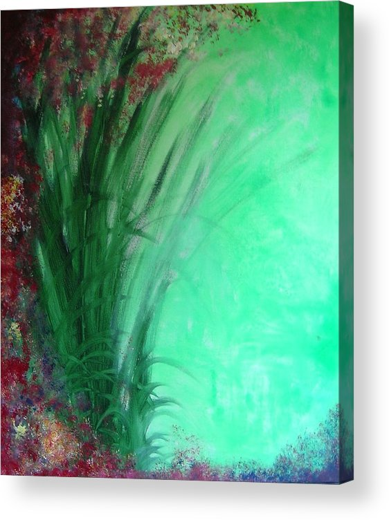 Green Ferns Acrylic Print featuring the painting Ferns by Lizzy Forrester