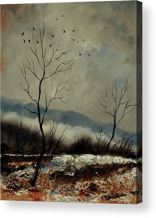 Landscape Acrylic Print featuring the painting First snow in Harroy by Pol Ledent