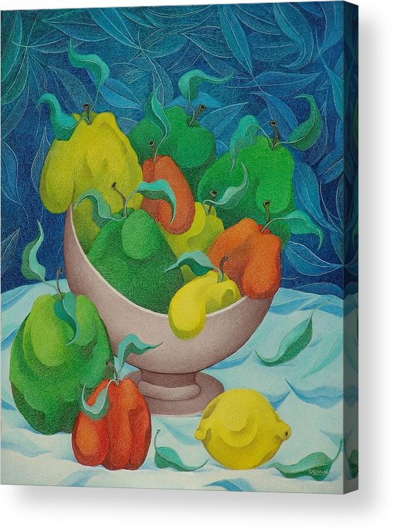 Sacha Circulism Circulismo Toothpick Paintings Acrylic Print featuring the painting Fruit Bowl with Blue Background 2006 by S A C H A - Circulism Technique