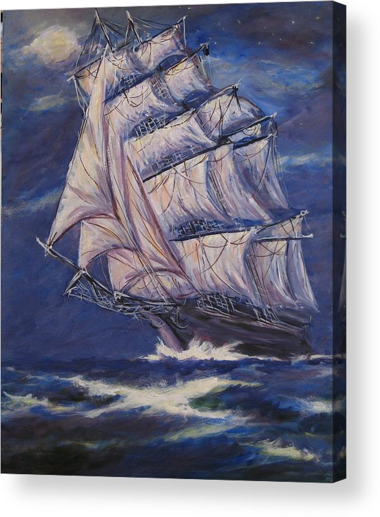 Sailing Ship Acrylic Print featuring the painting Full Sails under Full Moon by Thomas Restifo