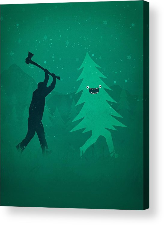 Cute Acrylic Print featuring the digital art Funny Cartoon Christmas tree is chased by Lumberjack Run Forrest Run by Philipp Rietz