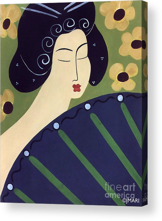#japanese Acrylic Print featuring the painting Geisha Doll by Jacquelinemari