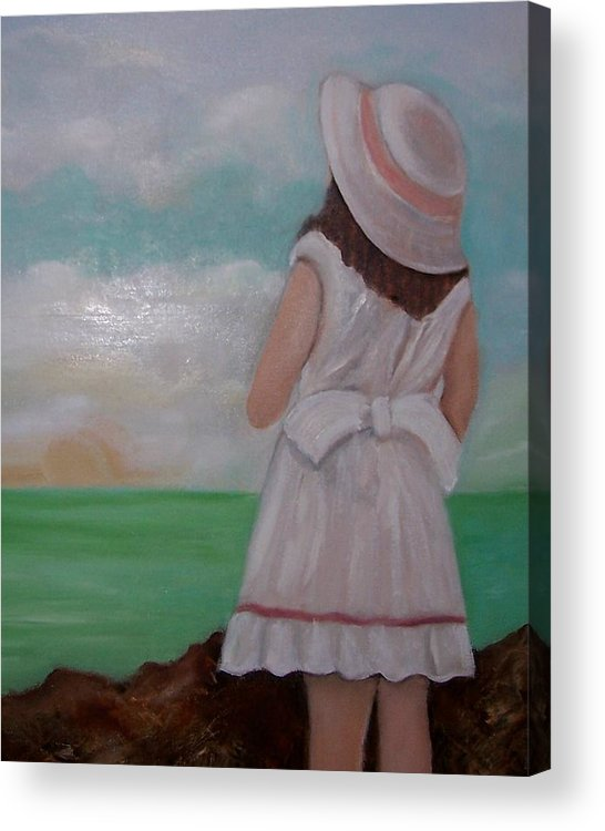 Children Acrylic Print featuring the painting Girl On The Beach by Martha Mullins