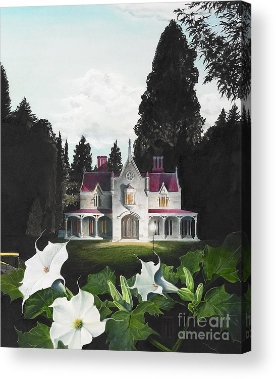 Fantasy Acrylic Print featuring the painting Gothic Country House detail from Night Bridge by Melissa A Benson