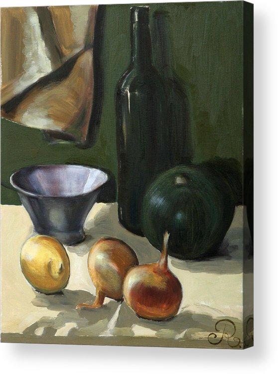 Still-life Green Yellow Cucurbit Lemon Onion Acrylic Print featuring the painting Green still-life by Raimonda Jatkeviciute-Kasparaviciene