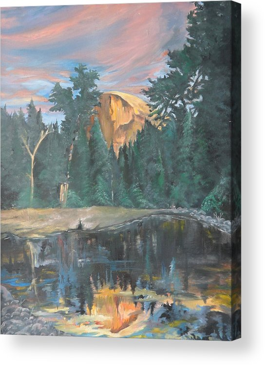 Sunset Acrylic Print featuring the painting Half Dome Sunset by Travis Day