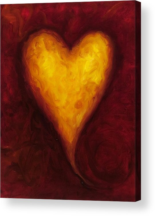 Heart Acrylic Print featuring the painting Heart of Gold 1 by Shannon Grissom