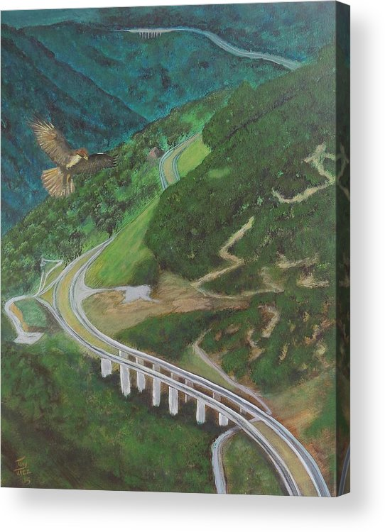 Red Tail Hawk Acrylic Print featuring the painting Highway by Tony Rodriguez