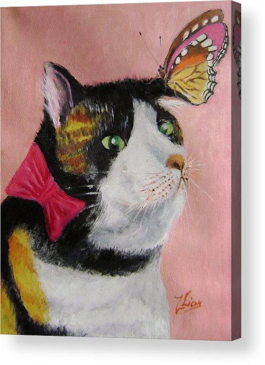 Cats Acrylic Print featuring the painting I hate butterflies by Lian Zhen