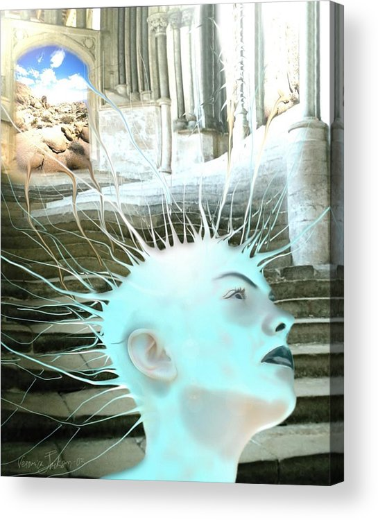 Thoughts Stairs Energy Space Acrylic Print featuring the digital art I by Veronica Jackson