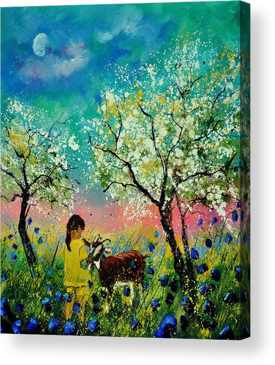 Landscape Acrylic Print featuring the painting In the orchard by Pol Ledent