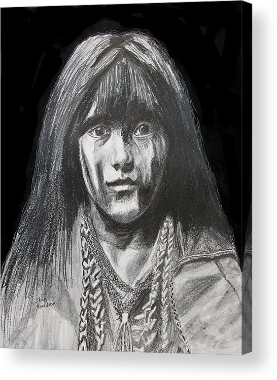 Original Drawing Acrylic Print featuring the drawing Indian Princess by Stan Hamilton