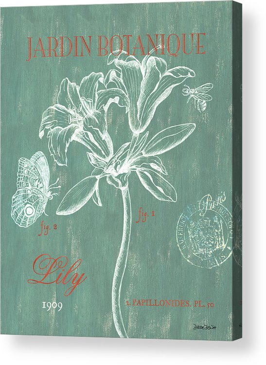 Floral Acrylic Print featuring the drawing Jardin Botanique Aqua by Debbie DeWitt