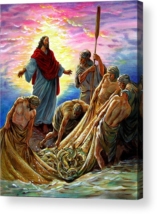 Jesus Acrylic Print featuring the painting Jesus Appears to the Fishermen by John Lautermilch