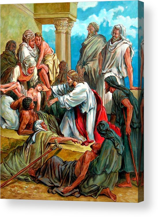 Biblical Scene Acrylic Print featuring the painting Jesus Healing the Sick by John Lautermilch