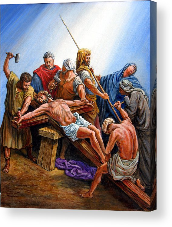 Jesus Acrylic Print featuring the painting Jesus Nailed to the Cross by John Lautermilch