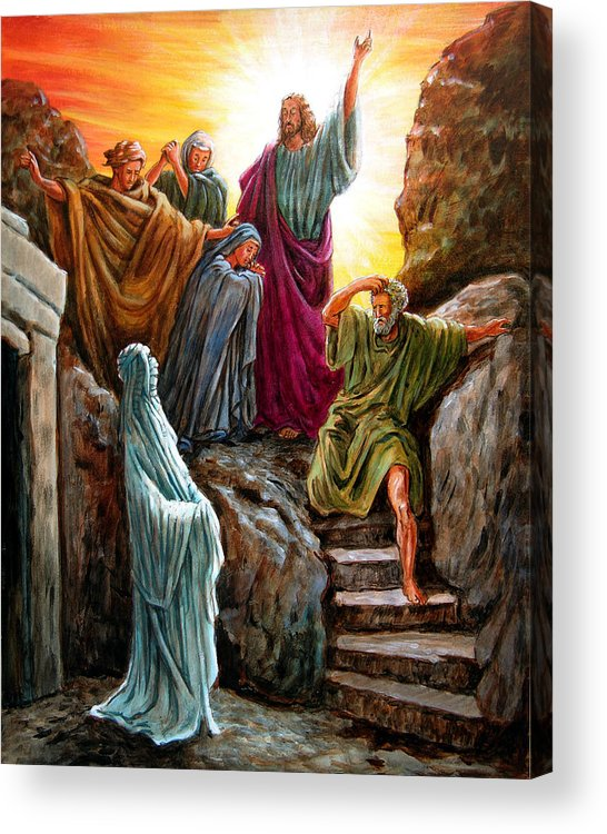 Bible Scene Acrylic Print featuring the painting Jesus Raises Lazarus by John Lautermilch
