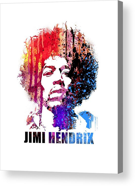 Jimi Hendrix Acrylic Print featuring the painting Jimi Hendrix by Art Popop