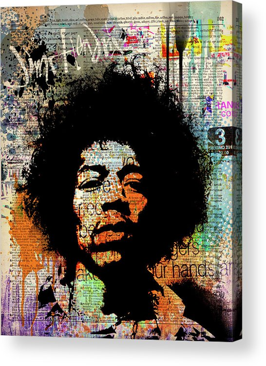 Jimi Acrylic Print featuring the painting Jimi on dictionary page by Art Popop