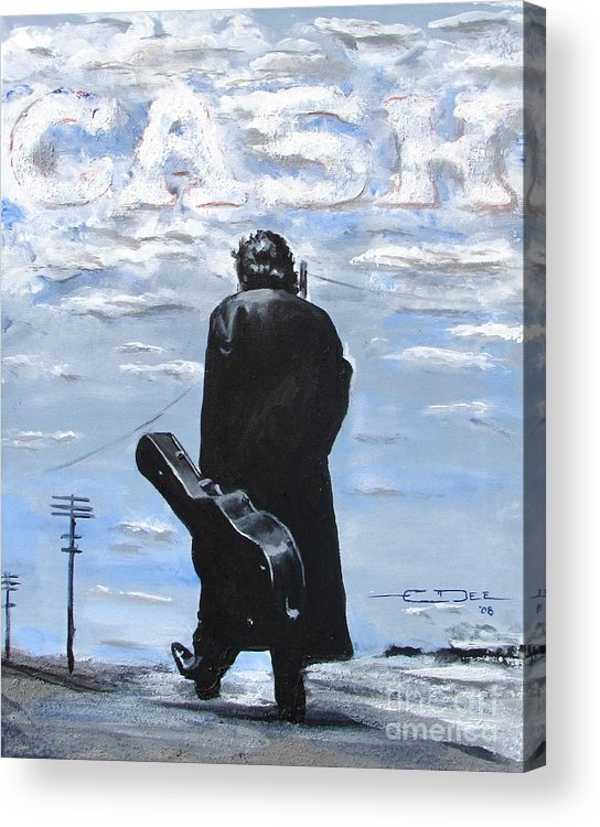 Johnny Cash Acrylic Print featuring the painting Johnny Cash - Going to Jackson by Eric Dee