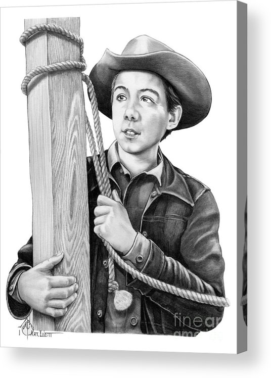 Pencil Acrylic Print featuring the drawing Johnny Crawford-Mark McCain by Murphy Elliott